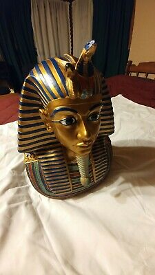 """Egyptian Pharaoh King Bust Statue, beautiful detail and colors, 11"""" high"""