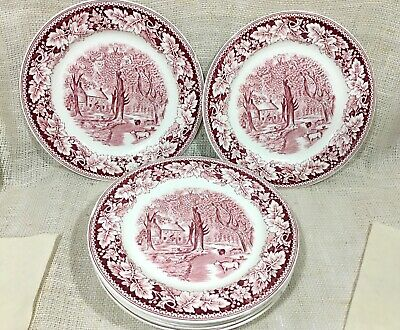 Homer Laughlin An American Subject Currier Ives Set 7 Dinner Plates Home Sweet