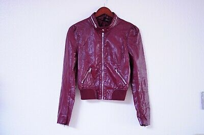 H&M Faux Leather Burgundy Puff Shoulder Bomber Jacket size 8