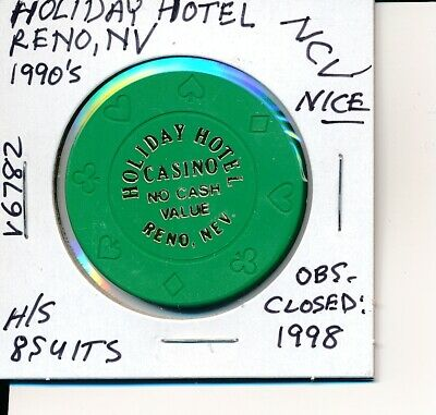 CASINO CHIP-HOLIDAY HOTEL RENO NV 1990's 8 SUITS H/S NO CASH VALUE CLSD 1998