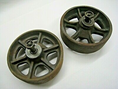 Antique Pair of Cast Iron Spoked Center Wheels Industrial Steel Steampunk Old