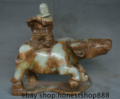"10"" Chinese Old antique Green Jade Jadeite Carved shepherd boy On Bull Statue"