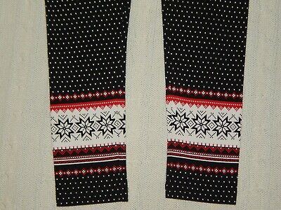 LANDS END ― Girls M 10-12 ― Black/White/Red Holiday Christmas Leggings Pants NWT