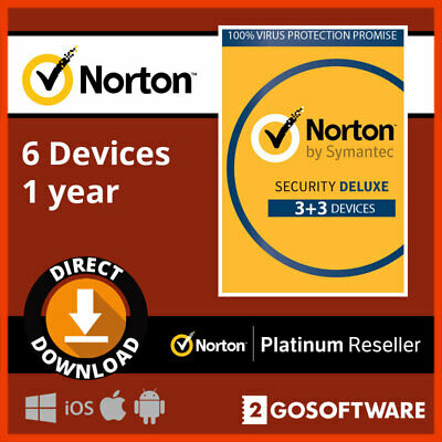 Norton Deluxe 2020 6 User 1Year License Key Code Virus Protection Email Delivery