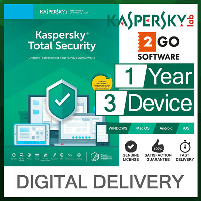 Kaspersky Total Security 3 Devices 1Year License Virus Protection Safe Internet
