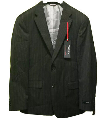 Tommy Hilfiger Mens Blazers Black Size 40 Short Pinstriped Two Button $165 077