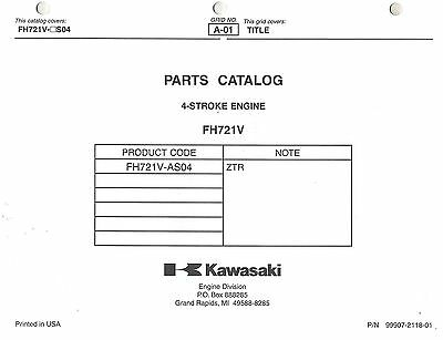 Kawasaki  Fh721  Air Cooled  Engines  Parts  Manual
