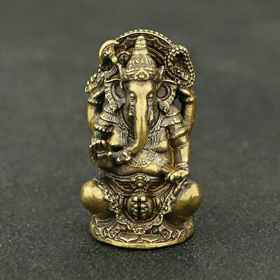 Brass Ganesha Small Statue Elephant Buddhism Collectible Handicraft ornament