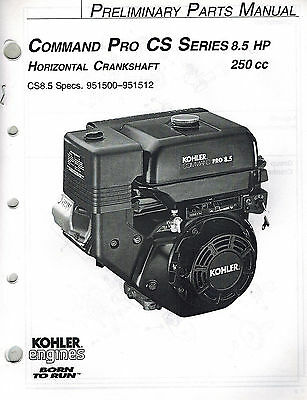 "Kohler Command Pro 8.5 Hp Horizontal Crankshaft  Engine Parts  Manual ""New"""