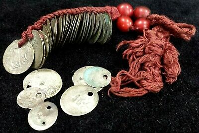 Antique Turkish Ottoman Ornament Cord 38 Silver Coins Mostly Medieval Akce
