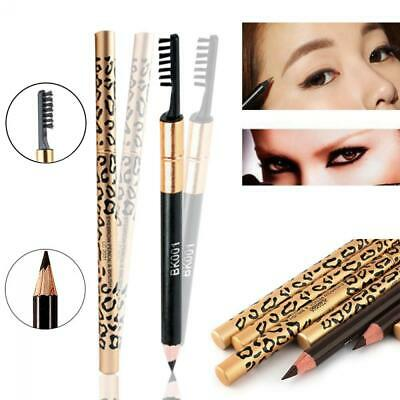 Waterproof Long-Lasting Women Makeup Leopard Eyeliner Eyebrow Pencil Brush