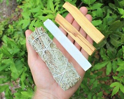 "Smudge Bundle Kit: 5"" Selenite Crystal, 2 Palo Santo Sticks, White Sage Smudge"