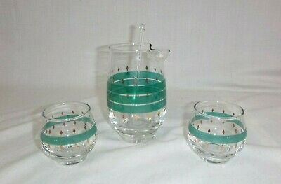 Vtg Mid Century 4 pc Libbey Cocktail Bar Set Pitcher Roly Poly Glasses Turquoise
