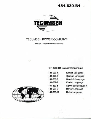 TECUMSEH ENGINES and TRANSMISSIONS OPERATOR'S  MANUAL