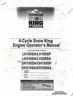 Tecumseh 4-Cycle Snow King  Engine Operator's Manual