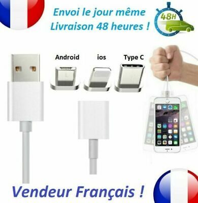 Cable USB Chargeur Magnetique iPhone Samsung micro USB TypeC Sync 100% Original