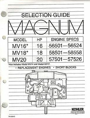Kohler Magnum Replacement Eng. Selection  Guide Mv16  Mv18  Mv20