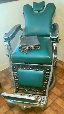 Vintage Antique Green Emil J. Paidar Barber Shop Chair Made in Chicago, Illinois