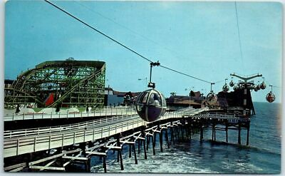 "1960s PACIFIC OCEAN PARK Postcard ""Ocean Sky Ride"" Santa Monica Pier CA Unused"