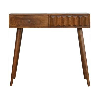 Vintage Art Deco Style Dark Wood Chestnut Prism Console Table /Desk Hand Crafted