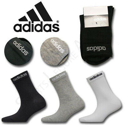Adidas Socks 1 Pair Pack Crew Cotton Mens Womens Boys Girls Kids Size UK 2 3 4 5