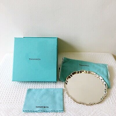 Tiffany & Co Makers Sterling Silver Trinket Plate W/ Box, Dust Bag, Cloth 23336