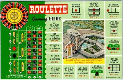 Las Vegas, Nevada Postcard DUNES HOTEL & COUNTRY CLUB w/ Roulette Gaming Guide