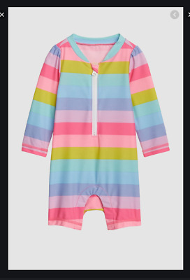 Nwt Baby Gap Girls Striped Swim One Piece Romper Bathing Suit 6-12 Upf 40+ New