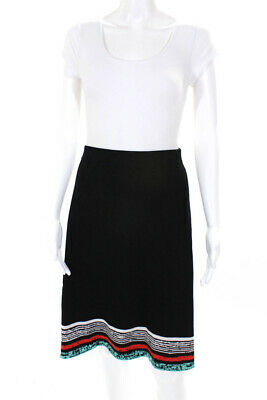 Isabel De Pedro Womens Stretch Knit A-Line Skirt Black Red Blue Cream Size Large