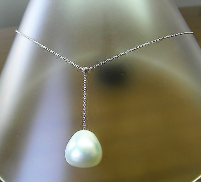 15mm! WHITE AUST SOUTH SEA PEARL 100% UNTREATED+18 ct WG NECKLACE SLIDER +CERT