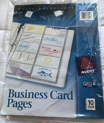 Avery  Business Card Pages For three-ring binder, Pack of 10 (76009), Clear