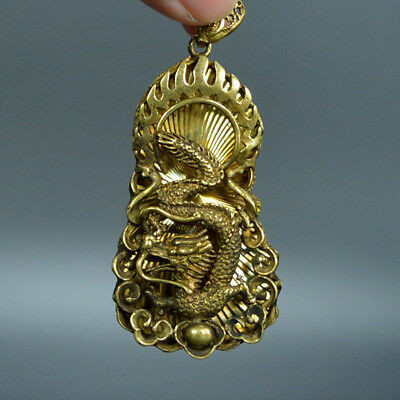 Chinese old collection handwork bronze Zodiac Dragon Ball brand Pendant a22