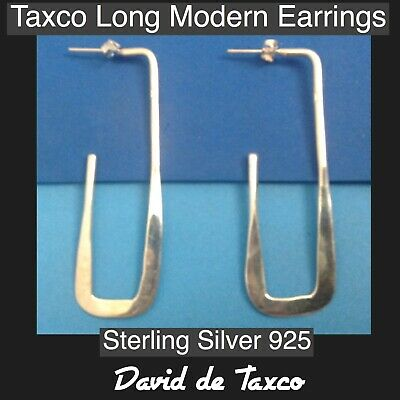Taxco Sterling Silver 925 Long Angle Modern Classic Earrings Distinctive Style