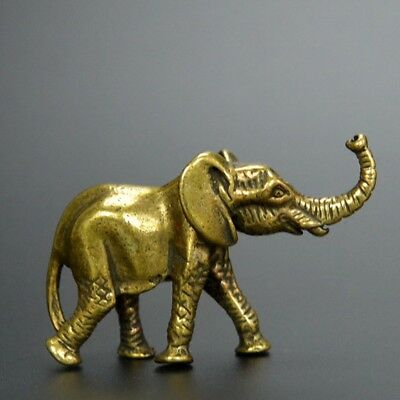 Chinese old collection handwork bronze Small elephant tea pet statue Pendant a39