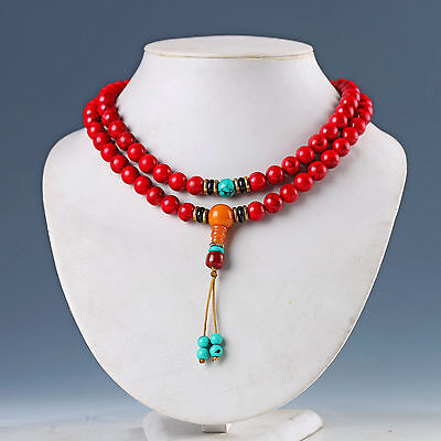 EXQUISITE CHINESE RED CORAL HAND WOVEN NECKLACES & PENDANT  a49