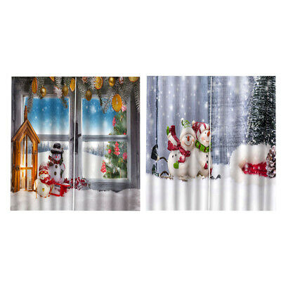 Christmas Curtains for Bedroom Waterproof Xmas Snowman 2Panels Drapes F