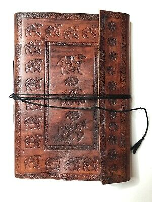 Hand Tooled Leather Photo Album Scrap Book Carved Animals Elephant Camel Vintage