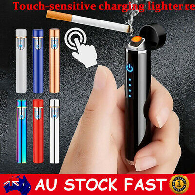 USB Rechargeable Electric Windproof Double Arc Flameless Plasma Touch Lighter AU