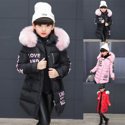 Girls Hooded Thick Coat Kids Padded Thick Parka Long Fur Jacket Warm Winter UK