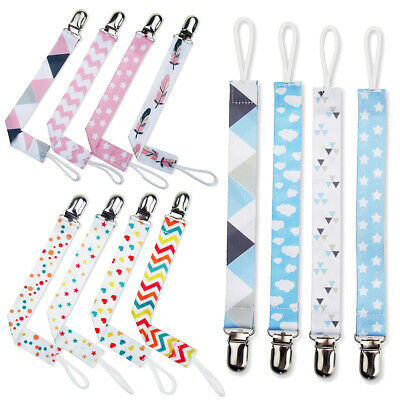 4X Dummy Clips Baby Boy Girl Soother Teething Chain Holder Strap Pacifier Modern
