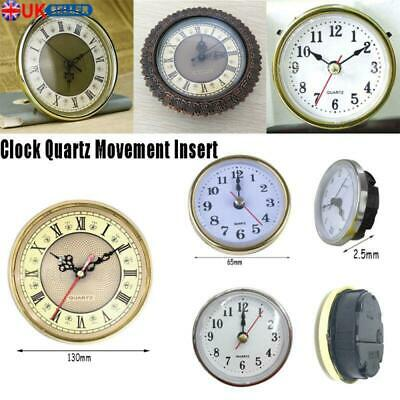 Clock Quartz Movement Insert Roman Numeral White Face Gold Trim DIY Parts