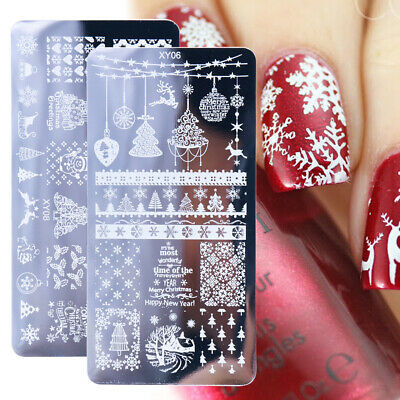 1x Nail Stamping Plates Christmas Nail Art Template Snowflowers Leaf Image Plate