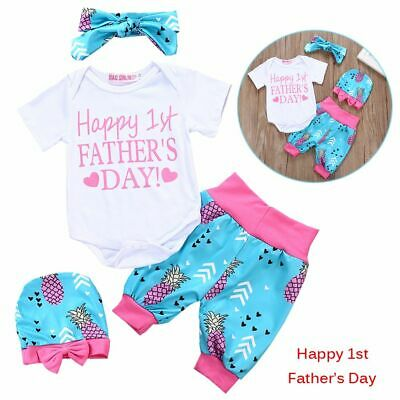 Boys Girls Letter Pineapple Print Father's Day Bow Knot Tops+Pants+Headband+Hat