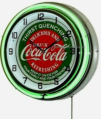 "18/"" Drink Coca-Cola Delicious and Refreshing Coke Sign Double Neon Clock"