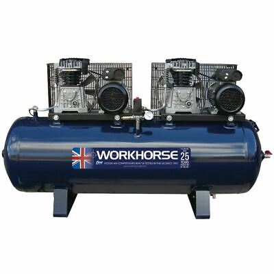 Workhorse Tandem Air Compressor 2 x 4HP - 230V - 250 Litre 36.4CFM