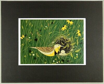 Charley Harper Print Eastern Meadowlark Nesting Bird, Black Matted, Large