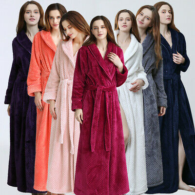 Ladies Womens Bathrobe Long Fleece Dressing Gown Luxury Winter Housecoat Robe