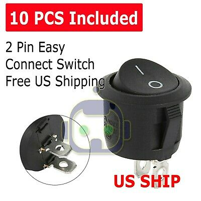 10PCS Round Rocker Switch ON/OFF Toggle Round Button Boat Car Auto Switch 12V US