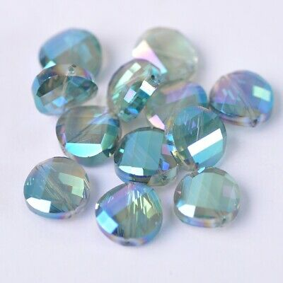 20pcs 14mm Twist Coin Faceted Crystal Glass Loose Beads lot Green Colorized