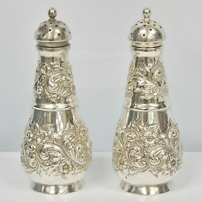 """STERLING SILVER #1 Respousse Floral Pattern Salt & Pepper Shakers 4 3/4"""""""